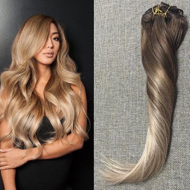 Full Shine Remy Clip in Hair Extensions Human Hair Ombre Balayage ...