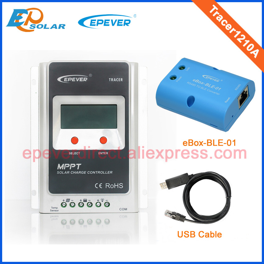 regulator Solar controller 10A MPPT Tracer1210A Bluetooth BLE function and USB for 12v 24v auto work portable solar power meter for solar research and solar radiation measurement sm206
