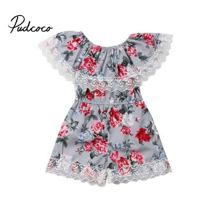 2019 Fashion Cute Toddler Kids Baby Girl Flower Lace Ruffle   Romper   Flower Print Summer Blue Lace-up Jumpsuit Clothes