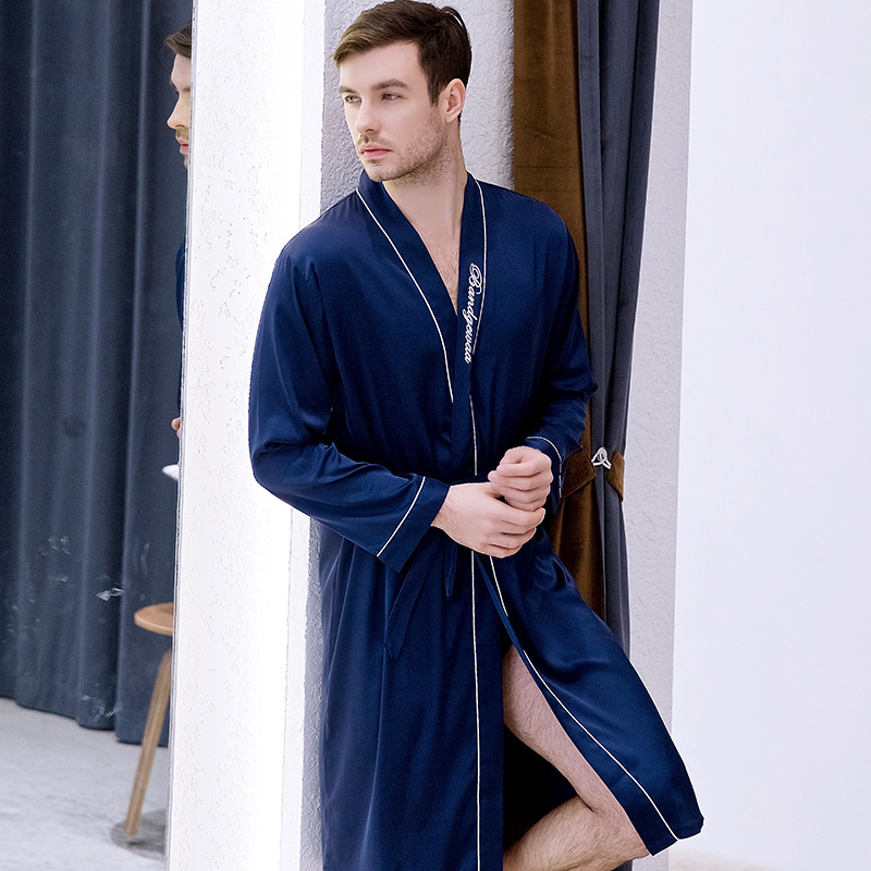 Frühling Neue Männer Dressing Kleid Langarm Nachtwäsche Brief Casual Kimono Bademantel Sexy Bräutigam Trauzeuge Hochzeit Roben Nachtwäsche