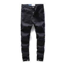 DSEL Jeans Men Black Color Hip Hop Skinny Jeans Stretch Cotton Denim Pants Brand Knee Hole Punk Style Ankle Zipper Ripped Jeans(China)