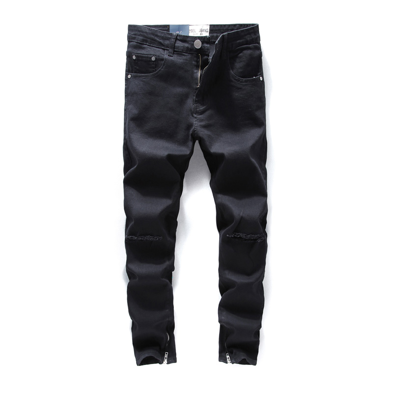 DSEL   Jeans   Men Black Color Hip Hop Skinny   Jeans   Stretch Cotton Denim Pants Brand Knee Hole Punk Style Ankle Zipper Ripped   Jeans