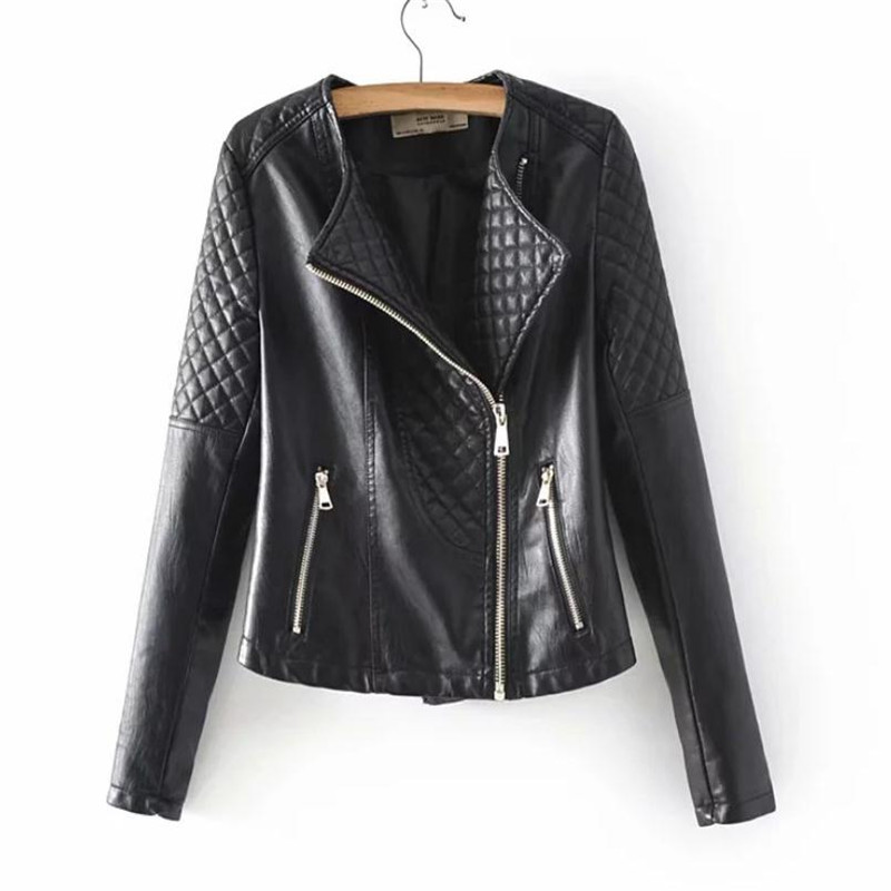 Women's long-sleeved PU   leather   Jacket Coats Lapel Inclined Zipper Long-sleeved   Leather   Jacket Fashionable Leisure Prism Embosse