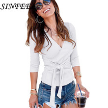 SINFEEL New Women Bow Tie Sexy V neck Long sleeve Sweater Pullover Knitting Autumn Winter Female Knitted Tops Blouse Knitwear цена