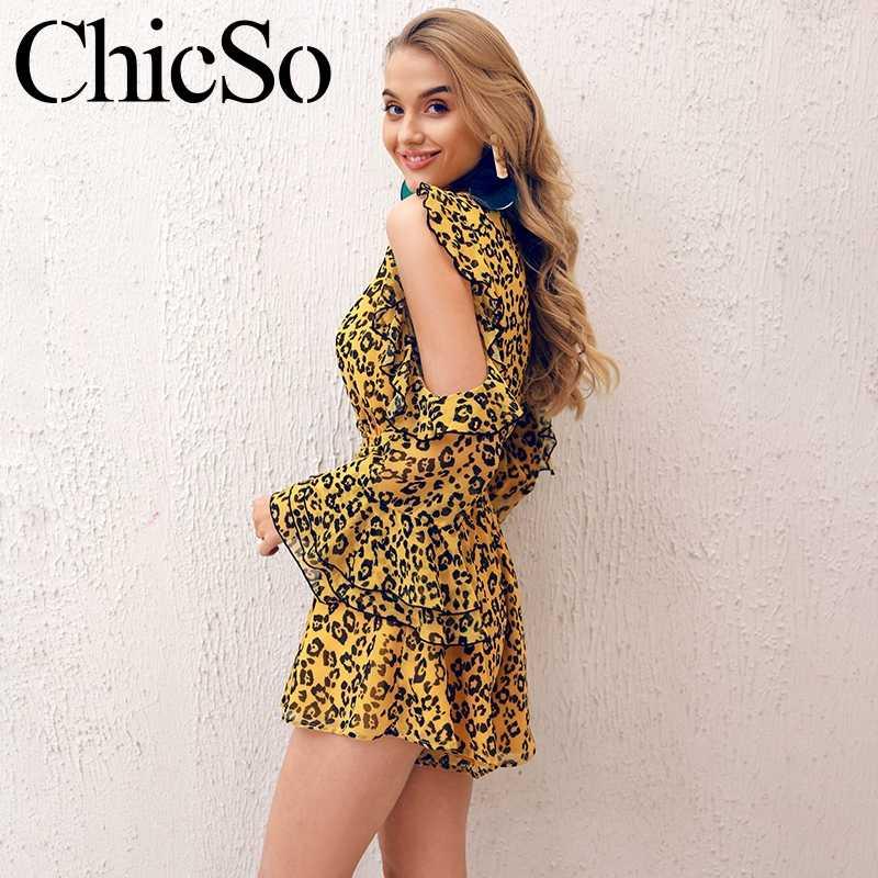 Missychili Leopard chiffon traje de una pieza mujer elegante cuello en v ruffle sexy corto mameluco Fiesta club verano amarillo