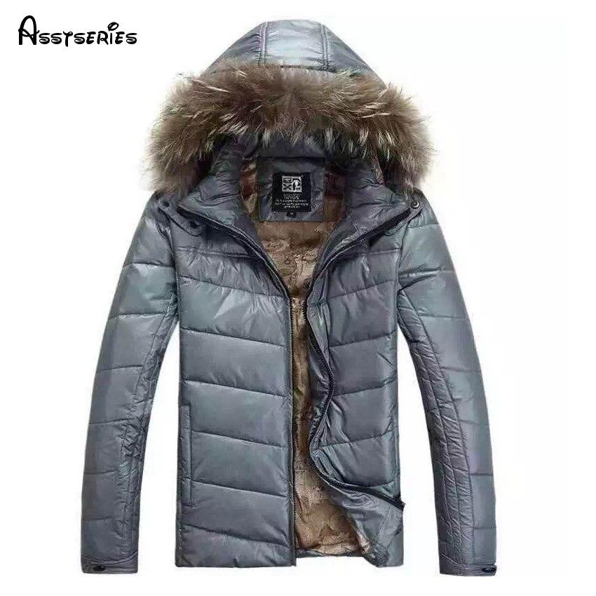 Бесплатная доставка 2018 новая зимняя куртка для Для мужчин пальто с капюшоном Повседневное Для мужчин S толстый слой мужской тонкий мягкий Подпушка верхняя одежда Размеры M-2XL