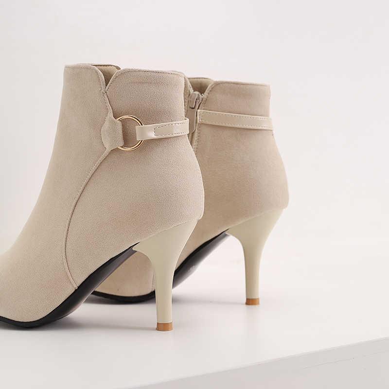 ZawsThia 2019 kış yeni bayan ayakkabı rahat yüksek topuklu bayanlar stilettos kadın yarım çizmeler seksi yüksek topuk çizmeler büyük boy 44