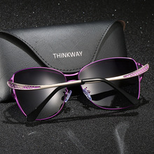 New pattern Cat's Eye cycling sunglasses For Women metal frame UV400 lens HD polarized glasses working and traveling glasses