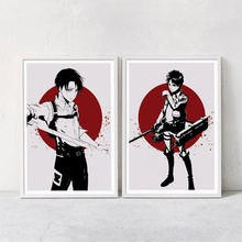 Attack On Titan Eren Jaeger Levi Ackerman Anime Posters And Prints Wall Art Canvas Painting Baby Pictures Wall Paintings стоимость