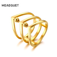 Meaeguet Women Rings Stainless Steel 3 Rows Cocktail Finger Ring For Woman Gold Tone Fashion Party