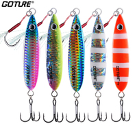 Goture 5pcs/set 40g 60g Spoon Jig Metal Lure Jigging Lead Artificial Isca Luminous Bait Slow Jig Sea Bass Fishing Lure Tackle