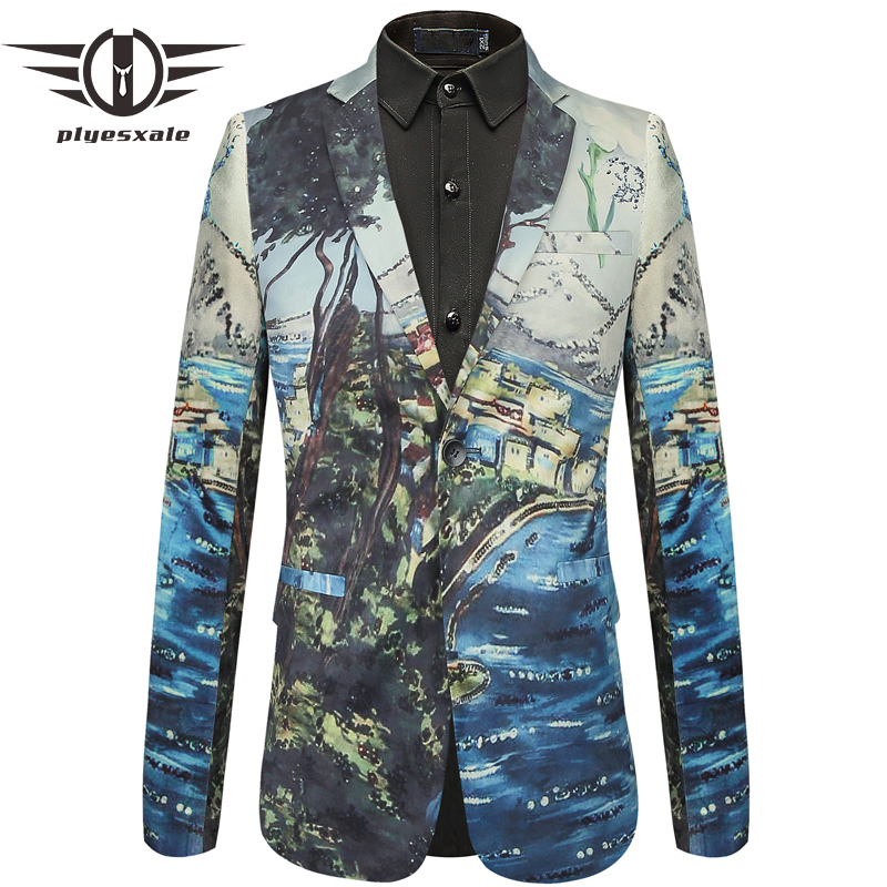 Plyesxale 2018 New Arrival 3D Mens Printed Blazer Slim Fit Wedding Male Blazer Jacket Brand Leisure Blazer Masculino Q436