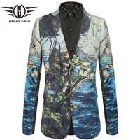 Plyesxale 2018 New Arrival 3D Mens Printed Blazer Slim Fit Wedding Male Blazer Jacket Brand Leisure Blazer Masculino Q436