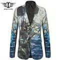 Plyesxale 2018 nueva llegada 3D hombres impreso Blazer Slim Fit boda hombre Blazer chaqueta marca ocio Blazer Masculino Q436