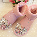 Free Shipping Handmade Rhinestone sequins crystal baby girl's bling bling Snow Boots children warm Shiny fashion Winter Shoes