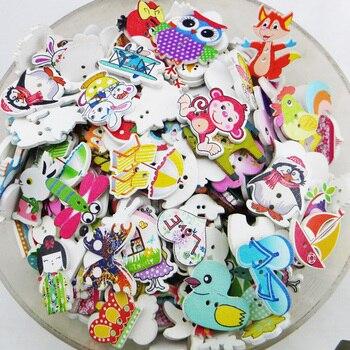 スクラップブックのための 50 個のカラフルな 2 穴木製ボタン工芸品diyのベビー子供服縫製アクセサリーボタンの装飾