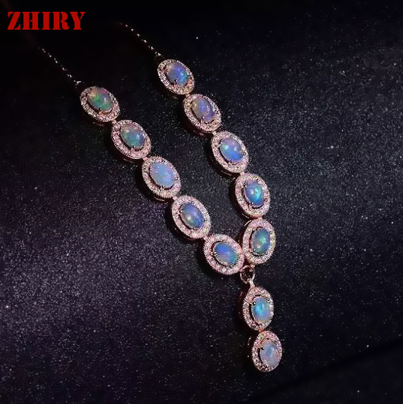 Natural Opal Necklace Pendant Fire Gem Stone 925 Sterling Silver Women Jewelry Noble Wedding Wear Lots