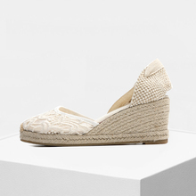 65mm heel height women wedge sandals, sweet lace upper espadrilles