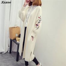 Xnxee 2018 New autumn winter women long sweater dress loose size embroidery cardigan coat fashion sweaters clothes
