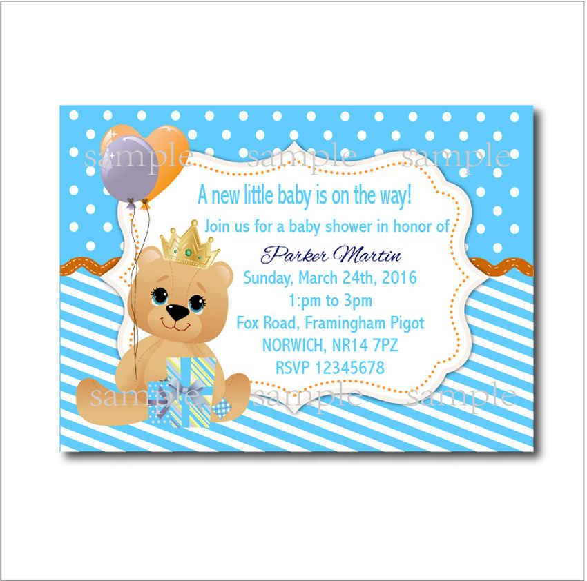 14 Pcs Lot Teddy Bear Baby Shower Invitations Birthday Party Invites Custom Kids Decoration Supply Free Shipping