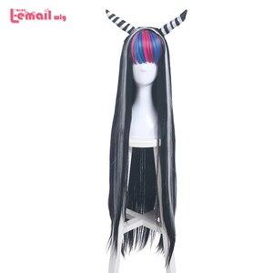 Image 1 - L email peruk Danganronpa Mioda Ibuki Cosplay peruk uzun karışık renk düz Cosplay peruk cadılar bayramı isıya dayanıklı sentetik saç