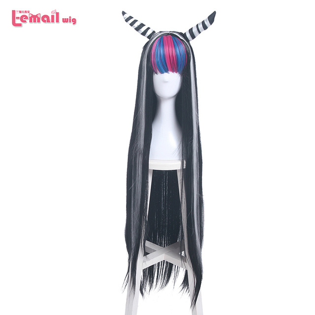 L email peruk Danganronpa Mioda Ibuki Cosplay peruk uzun karışık renk düz Cosplay peruk cadılar bayramı isıya dayanıklı sentetik saç