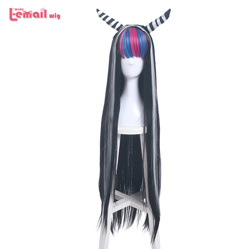 L-email Wig Danganronpa Mioda Ibuki Cosplay Wigs Long Mixed Color Straight Cosplay Wig Halloween Heat Resistant Synthetic Hair