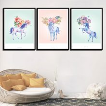 Nordic Originals Canvas Framework Giclee Picture Art Decor For Living Room Wall Printing Unicorn Flowers Painting Fashion Poster(China)