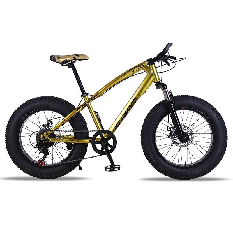 Bicicletta Mountain bike 7/21 velocità Grasso Neve Strada della bici 20*4.0 Anteriore e Posteriore Freno A Disco Meccanico