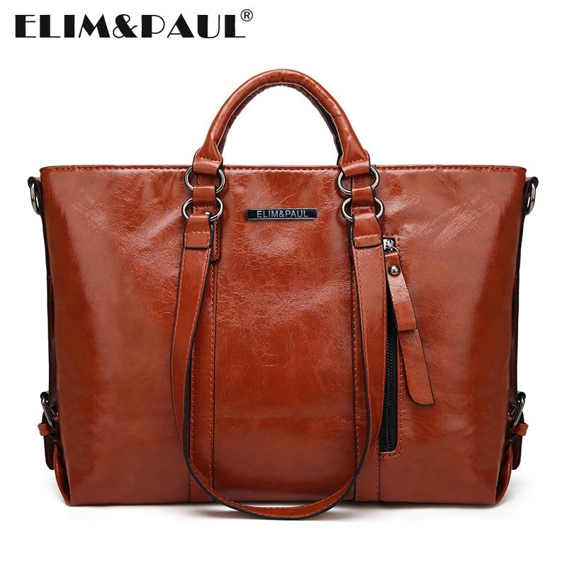 ELIM PAUL Top handle Bags Women Fashion Zipper PU Leather Shoulder Bags Female Totes Women Leather