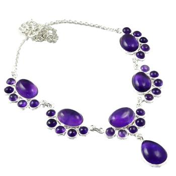 NiaoZaiFei YunZaiKan Nature Amethyst Necklace 925 Sterling Silver, 43 cm, MHBNE0049