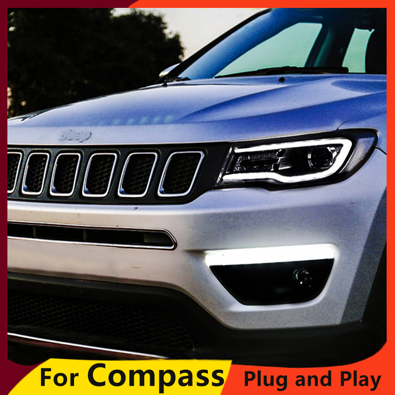 KOWELL Car Styling for Jeep Compass Headlights New 2017 2018 Compass LED Headlight LED DRL Bi