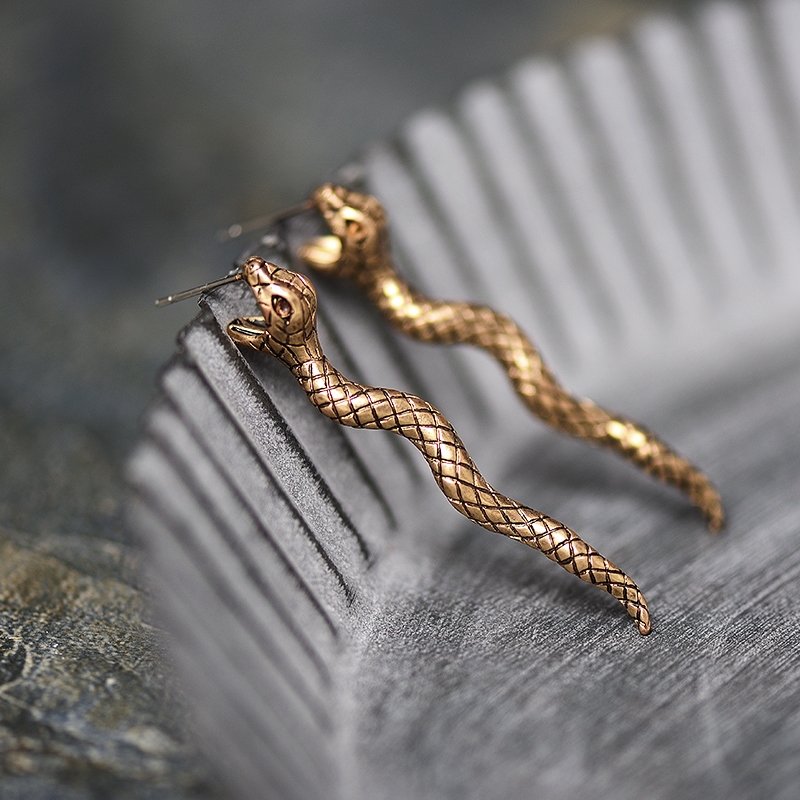 Antique Gold & Silver Snake Earring
