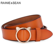 RAINIE SEAN Genuine Leather Women Belt Without Holes Car Ears Ring Khaki Korean Fashion Real Ladies