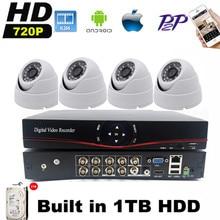 8CH HDMI DVR AHD CCTV Sistema HD 720 P 4 UNIDS 1.0MP Ir-cut Sistema de Vigilancia de Vídeo CCTV Cámara de Seguridad Inicio Kits Con 1000 GB HDD