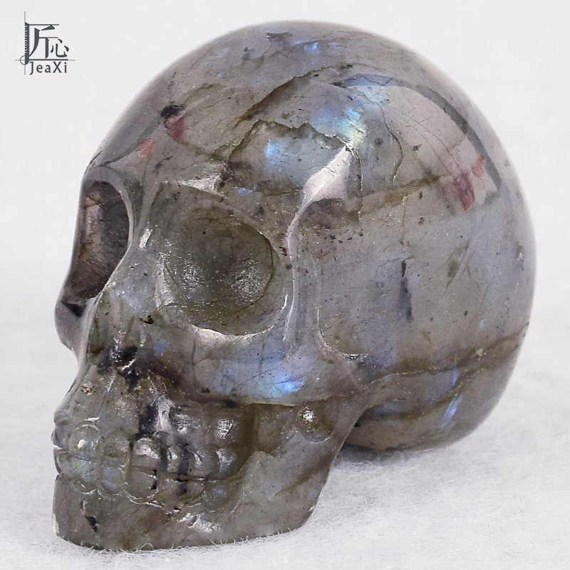 2 pulgadas hecho a mano Natural labradorita Cristal Tallado calavera realista Fengshui curación capacidad de la piedra hogar ornamento cristal