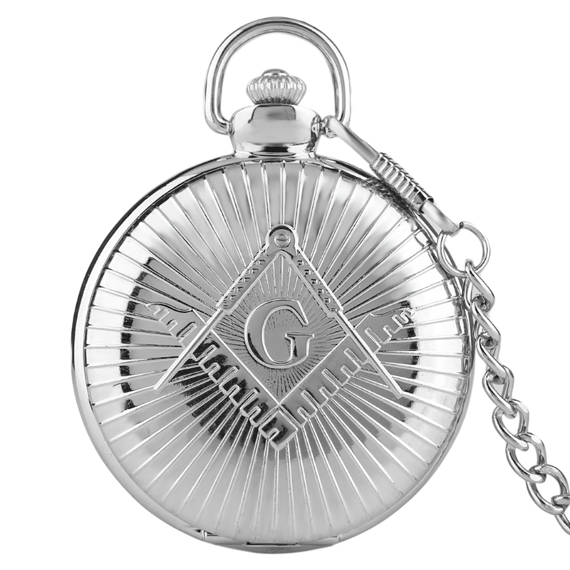 Big G Masonic Pocket Watch Freemason Freemasonry Retro Jewelry Quartz Pocketwatch with Pocket Chain Necklace Gift Fob Watches hot theme masonic freemason freemasonry g pocket watch men gift watch free shipping p1198