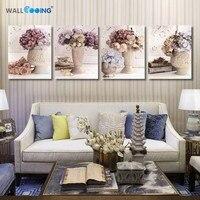 4ชิ้นผ้าใบภาพวาดศิลปะป๊อปดอกไม้แจกันภาพวาดการตั้งค่าส