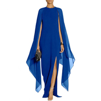 Women Elegant Cape Dress Fashion Evening Party Dress 2017 Ladies Boho Beach Dress Casual Long Maxi Chiffon Pacthwork Dresses