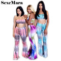 Hot 2017 sweatsuit set Strapless top and pants 2 piece set women summer plus size women summer suits african attire D29-AC52-BZ