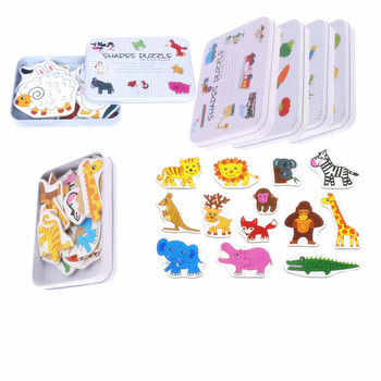 цена Baby Toys Iron Box Infant Early Head Start Training Puzzle Cognitive Card Vehicle/Fruit/Animal Set Pair Puzzle Educational Gift онлайн в 2017 году