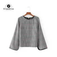 Houndstooth Blouse Pullover 2017 Women S New Designer Shirts Split Sleeve Back Zipper Blouse Plaid