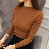 Women Half Turtleneck Solid Kintwear Korean Autumn New Fashion High Elastic Slim Sweaters Long Sleeve Ladies