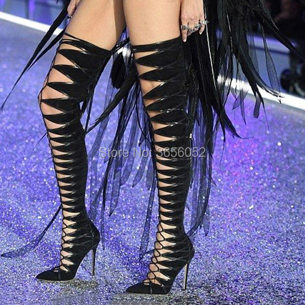 Fashion Runway Fetish Shoes Woman Beige Black Suede Cut-Outs Over The Knee Botas Pointed Toe Cross-tied Lace-up Thigh High Boots