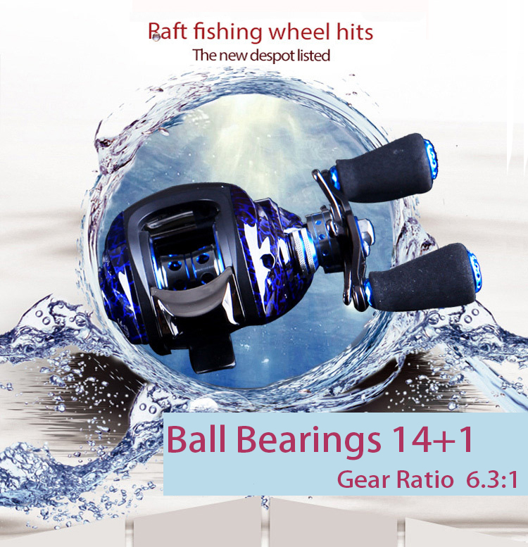QindMig 14 BB Baitcasting Fishing Reel Right / Left Hand Bait Casting Reel Baitcast Reel Water Drop Wheel 214G Lure wheel