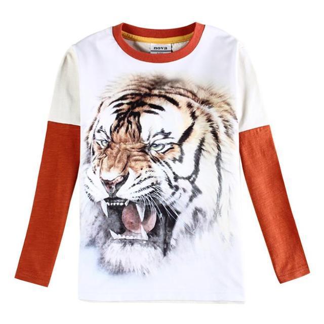 Детские мальчиков тенниски мальчиков одежда бренда дети одежда мальчики футболка с длинным рукавом мультфильм тигр дети roupas enfant