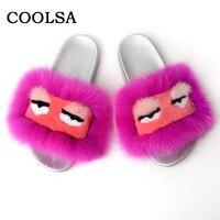 Coolsa New Women Monster Fur Slippers Fluffy Real Fox Hair Sandals Plush Soft Flat Home Flip Flops Women Casual Cute Animal Shoe