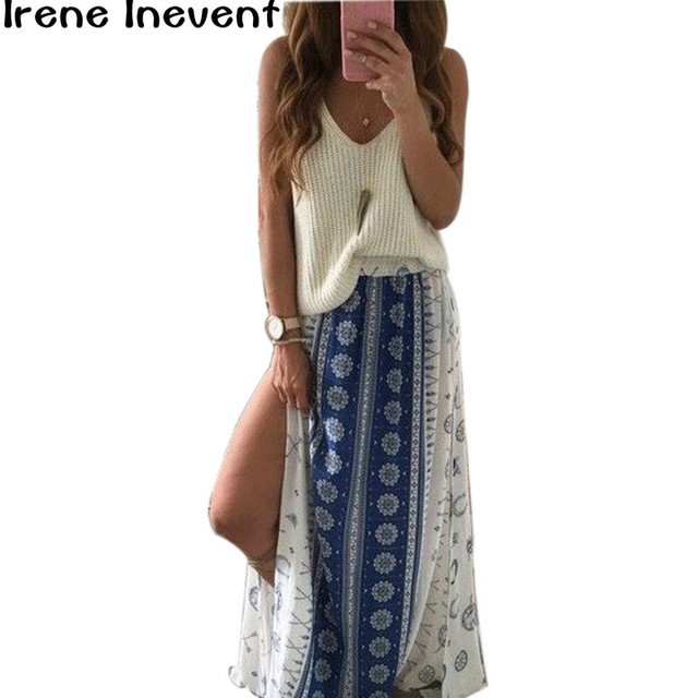 c5793783bd Irene Inevent Vintage floral print long skirts women Summer elegant beach  maxi skirt Boho high waist asymmetrical skirt