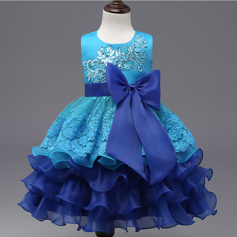 Gorgeous Vestidos Girls Dress Sequined Embroidery Lace Baby Girl Wedding Party Wear Princess Girls Dresses Kids Clothes Chrismas