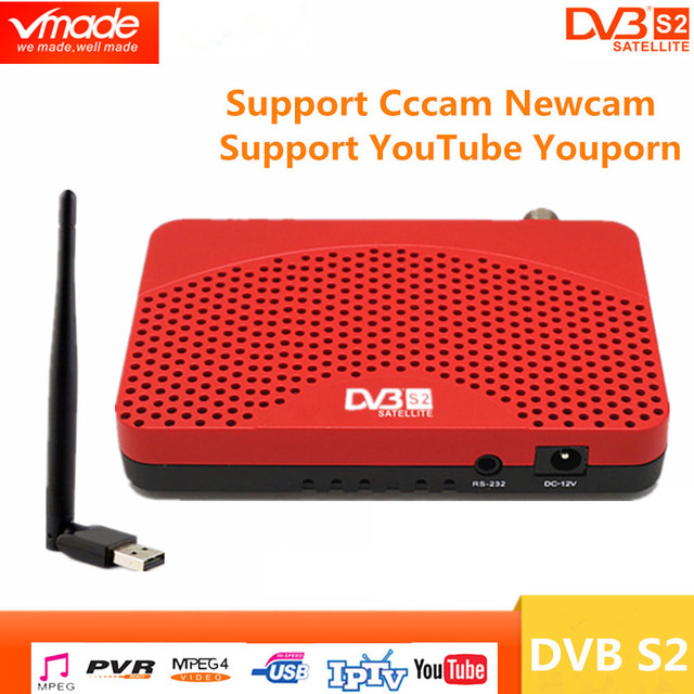 DVB S2 mini DVB TV BOX Digitale Satellietontvanger ondersteuning Biss Youtube IPTV Cccam USB 2.0 + USB wifi dongle set top box